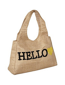 Tote Burlap Word by Moyna Handbags