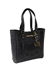 Hello Kitty Black Embossed Face Tote by Loungefly