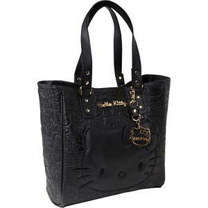 Hello Kitty Black Embossed Face Tote