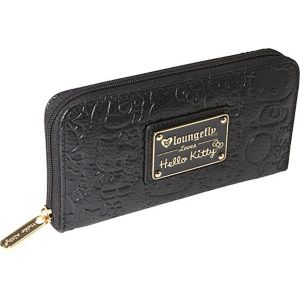 Hello Kitty Black Embossed Face Wallet