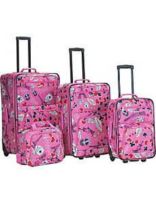 Vegas 4 Piece Printed Luggage Set by Rockland Luggage