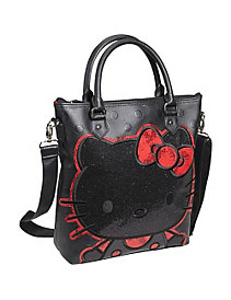 Hello Kitty Polka Dot Embossed Glitter Tote by Loungefly