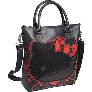Hello Kitty Polka Dot Embossed Glitter Tote