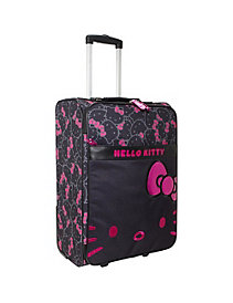 Hello Kitty Black & Pink Rolling Luggage by Loungefly