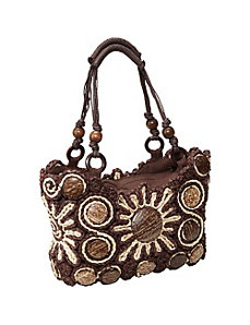 Cornhusk Handbag with Coco Trim by Cappelli