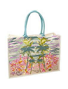Palm Print Canvas Tote by Cappelli
