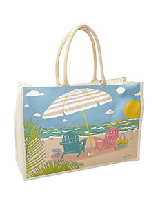 Beach Chairs Print Canvas Tote by Cappelli