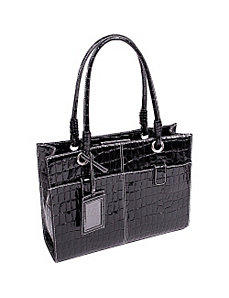 Elena Faux Patent Croco Ladies' Business Tote by McKlein USA