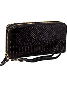Snake Double Zip Around Wristlet Clutch Wallet by R & R Collections