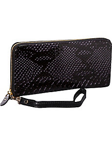Snake Single Zip Around Wristlet Clutch Wallet by R & R Collections