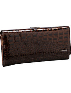 Croco Full Flap Clutch with Back Frame by R & R Collections