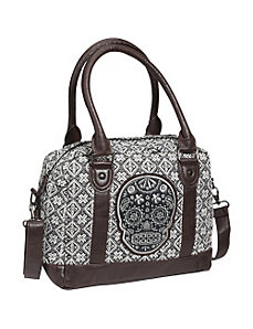 Tweed Sugar Skull Satchel by Loungefly