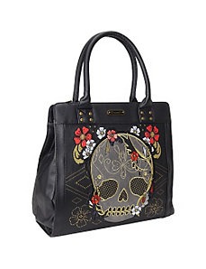 Gold & Red Floral Skull Tote by Loungefly