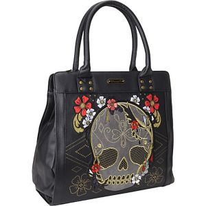 Gold & Red Floral Skull Tote