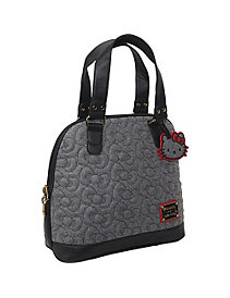 Hello Kitty Gray Quilted Bows Satchel by Loungefly