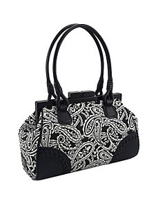 Paisley Printed Double Handle Framed Satchel with by Koret Handbags