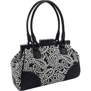 Paisley Printed Double Handle Framed Satchel with