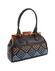 Aztec Woven Top Framed Satchel in Genuine Leather by Koret Handbags