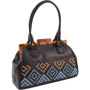 Aztec Woven Top Framed Satchel in Genuine Leather