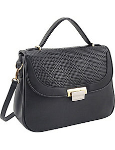 Perforated Leather Half Flap Satchel by Koret Handbags