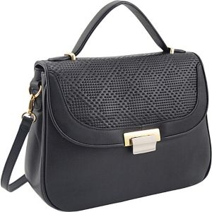 Perforated Leather Half Flap Satchel