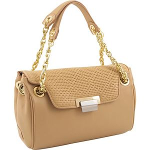 Perforate Leather Quarter Flap Satchel