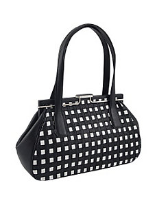 Leather Woven Snap Double Handle Satchel by Koret Handbags