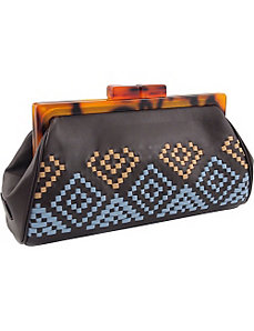 Aztec Woven Framed Clutch in Genuine Leather by Koret Handbags