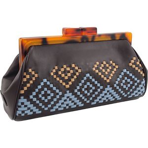 Aztec Woven Framed Clutch in Genuine Leather