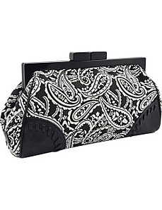 Paisley Printed Framed Clutch in Genuine Leather by Koret Handbags