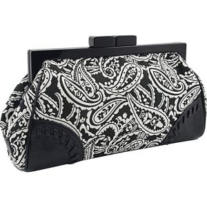 Paisley Printed Framed Clutch in Genuine Leather