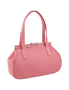 Perforated Leather Double Handle Satchel by Koret Handbags