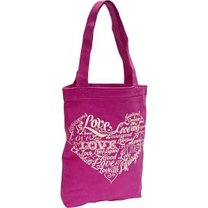 Simple Canvas Tote Love, Hot Fuchsia