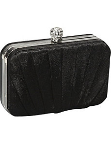 Pleated Satin Box Clutch by Magid