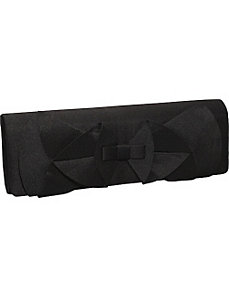 Satin Ruffle Bow Clutch by Magid