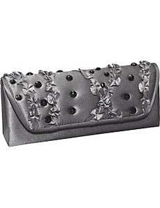 Satin Ruffle Evening Clutch by Magid