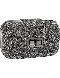 Glitter Turn Lock Box Clutch by Magid