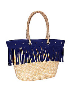 Fringed Milan Straw Large Tote by Magid