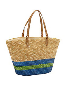 Milan Straw Stripe Bottom Tote by Magid