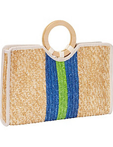 Milan Straw Vertical Stripe Bracelet Tote by Magid