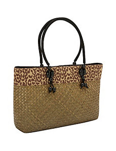 Seagrass Straw Animal Stripe Tote by Magid