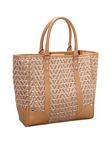 Straw Zig Zag Tapestry Tote by Magid