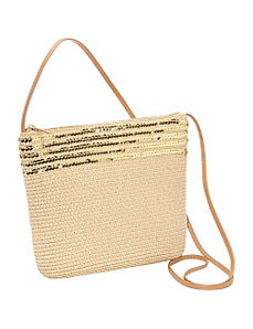 Paper Straw Sequin Crossbody Bag by Magid