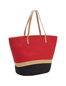 Two Tone Mix Stripe Paper Tote by Magid