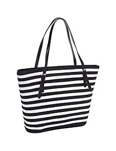Two-Tone Stripe Double Handle Paper Tote by Magid
