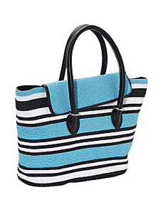Mix Stripe Paper Straw Tote by Magid