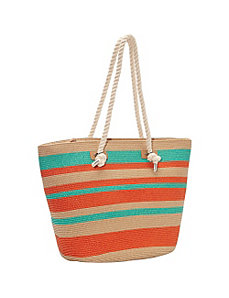 Multi Stripe Beach Paper Rope Tote by Magid