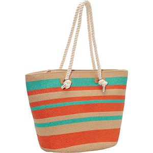 Multi Stripe Beach Paper Rope Tote