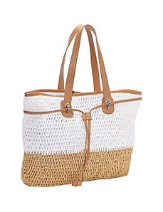 Two Tone Crochet Paper Straw Drawstring Bag by Magid