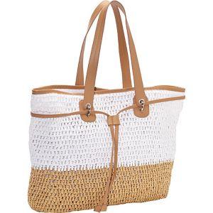 Two Tone Crochet Paper Straw Drawstring Bag